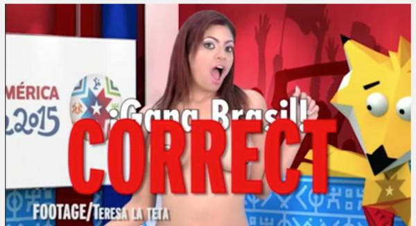 海外女主播用胸部预测美洲杯赛事